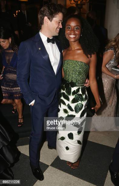 Andrew Rannells and Denee Benton pose at the 2017 Tony Ball at The Plaza on June 11 2017 in New York City