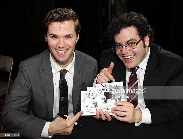 Andrew Rannells and Josh Gad promote The Original Broadway Cast/Ghostlight Records Recording of 'The Book Of Mormon' at The Eugene O'Neill Theatre on...