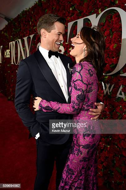 Andrew Rannells and Laura Benanti attend the 70th Annual Tony Awards at The Beacon Theatre on June 12 2016 in New York City