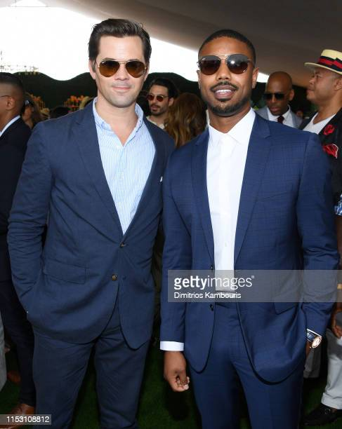 Andrew Rannells and Michael B Jordan attend the 12th Annual Veuve Clicquot Polo Classic at Liberty State Park on June 01 2019 in Jersey City New...