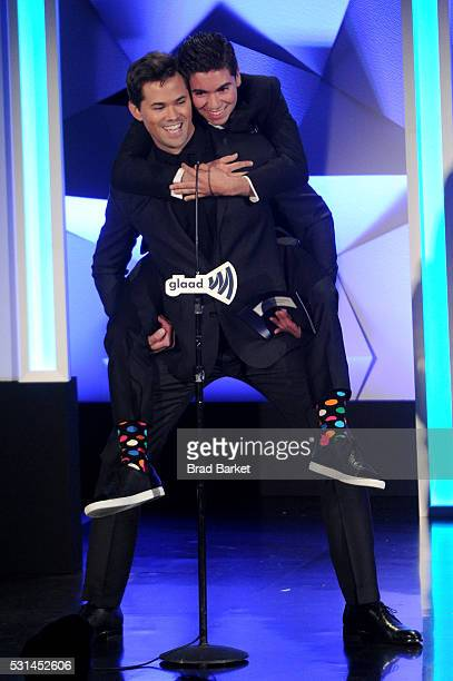 Andrew Rannells and Noah Galvin speak onstage at the 27th Annual GLAAD Media Awards hosted by Ketel One Vodka at the WaldorfAstoria on May 14 2016 in...
