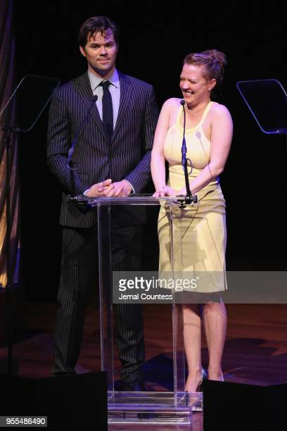 Andrew Rannells and Patti Murin speak onstage during the 33rd Annual Lucille Lortel Awards on May 6 2018 in New York City|