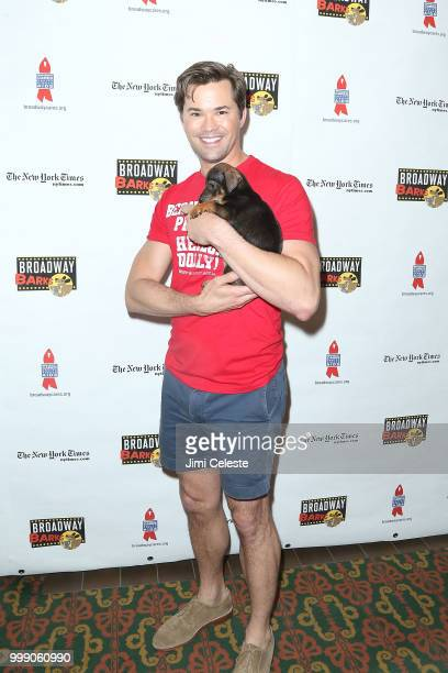 Andrew Rannells attends the 20th Anniversary Of Broadway Barks at Shubert Alley on July 14 2018 in New York City