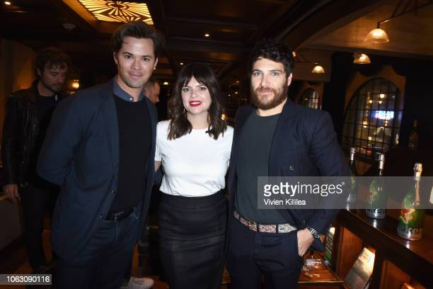 Andrew Rannells Casey Wilson and Adam Pally attend the Heineken Green Room during Vulture Festival presented by ATT at Hollywood Roosevelt Hotel on...