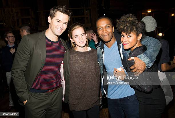 Andrew Rannells Emma Watson Leslie Odom Jr and Ariana DeBose backstage at Hamilton at the Richard Rodgers Theatre on October 29 2015 in New York City