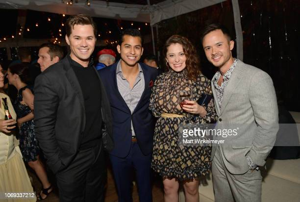 Andrew Rannells guest Rachel Bloom and guest attend the 2018 GQ Men of the Year Party at a private residence on December 6 2018 in Beverly Hills...