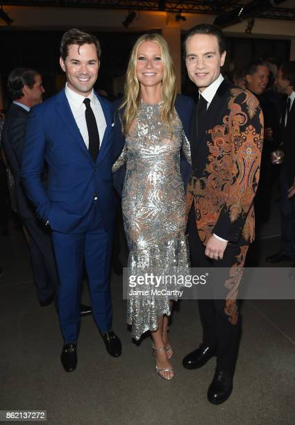 Andrew Rannells Gwyneth Paltrow and Jordan Roth attend the 11th Annual Golden Heart Awards benefiting God's Love We Deliver on October 16 2017 in New...