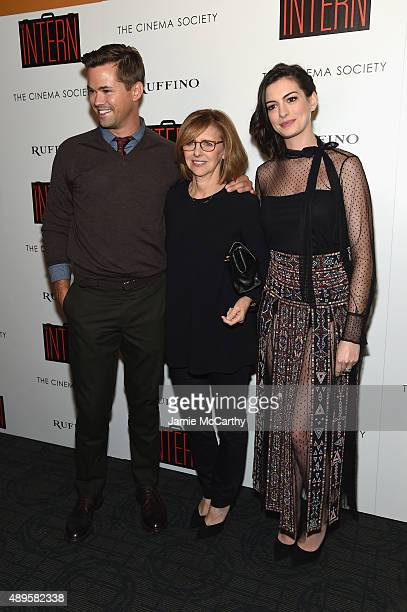Andrew Rannells Nancy Meyers and Anne Hathaway attend a screening of Warner Bros Pictures 'The Intern' hosted by The Cinema Society And Ruffino on...