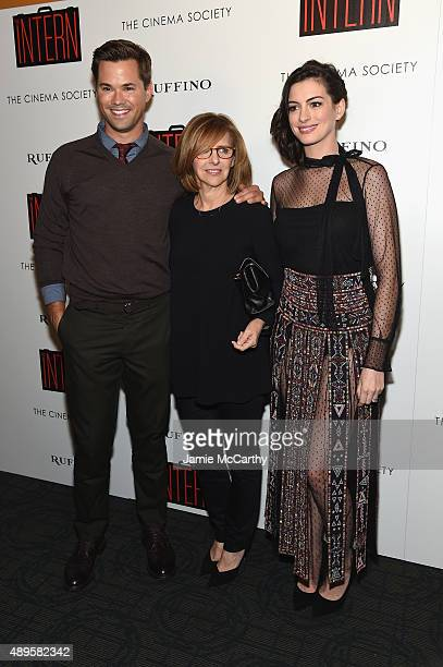 Andrew Rannells Nancy Meyers and Anne Hathaway attend a screening of Warner Bros Pictures The Intern hosted by The Cinema Society And Ruffino on...