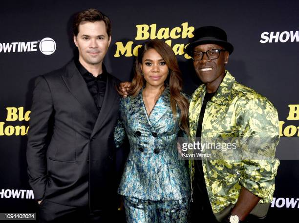 Andrew Rannells Regina Hall and Don Cheadle arrive at the premiere of Showtime's Black Monday at The Theatre at Ace Hotel on January 14 2019 in Los...
