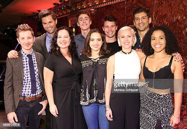 Andrew Rannells Riley O'Flynn Sean Howe and Tony Yazbeck and front row Julian Pollack Zuzanna Szadkowski Daisy Jacobson Grace Weber and Alysha...