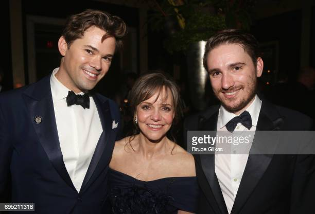 Andrew Rannells Sally Field and son Sam Greisman pose at the 2017 DKC/OM Tony After Party at The Carlysle Hotel on June 11 2017 in New York City