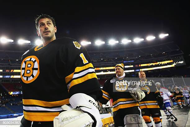 Andrew Raycroft of the Boston Bruins exits the ice after the game against the Montreal Canadiens after the 2016 Bridgestone NHL Winter Classic Alumni...
