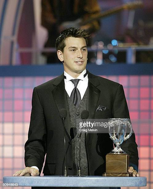 Andrew Raycroft of the Boston Bruins winner of the Calder Trophy, awarded annually to the player who has been the most proficient in his first year...