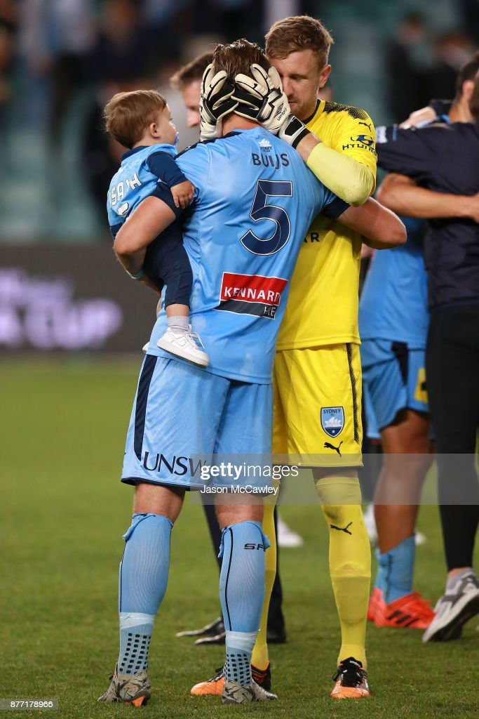 Andrew Redmayne and Jordy Buijs of Sydney celebrate victory at the end of the FFA Cup Final match between Sydney FC and Adelaide United at Allianz Stadium on November 21, 2017 in Sydney, Australia.