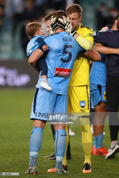 Andrew Redmayne and Jordy Buijs of Sydney celebrate victory at the end of the FFA Cup Final match between Sydney FC and Adelaide United at Allianz...