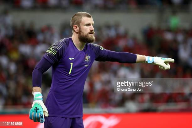 Andrew Redmayne of Australia instructs during the international friendly match between South Korea and Australia at Busan Asiad Main Stadium on June...