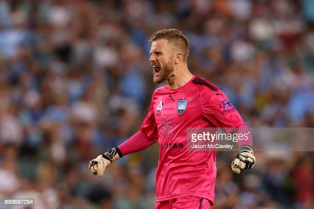 Andrew Redmayne of Sydney celebrates Brandon O'Neill scoring a goal during the round 13 ALeague match between Sydney FC and Perth Glory at Allianz...