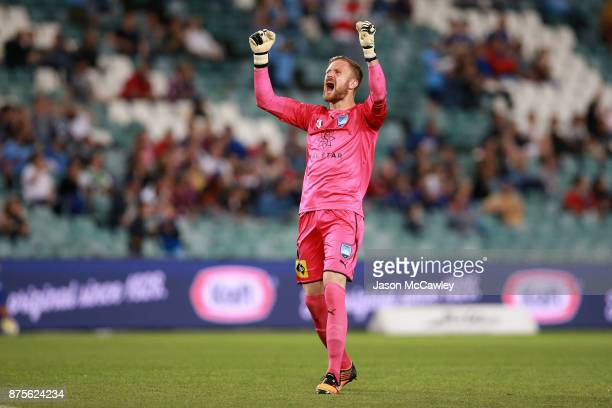 Andrew Redmayne of Sydney celebrates the goal of Milos Ninkovic of Sydney during the round seven ALeague match between Sydney FC and Newcastle Jets...
