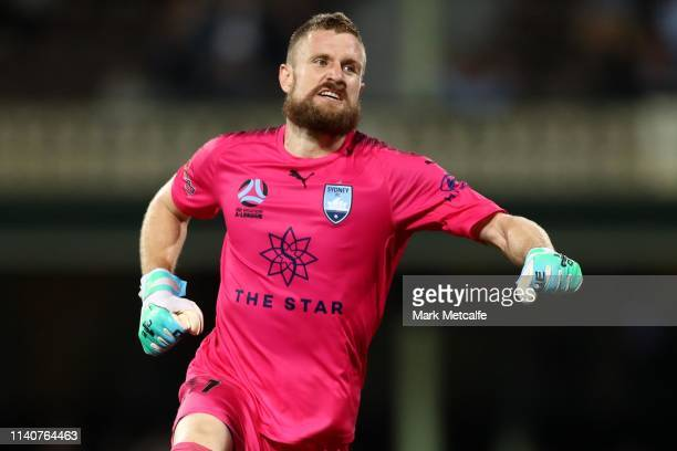 Andrew Redmayne of Sydney celebrates victory in the round 24 ALeague match between Sydney FC and the Melbourne Victory at Sydney Cricket Ground on...
