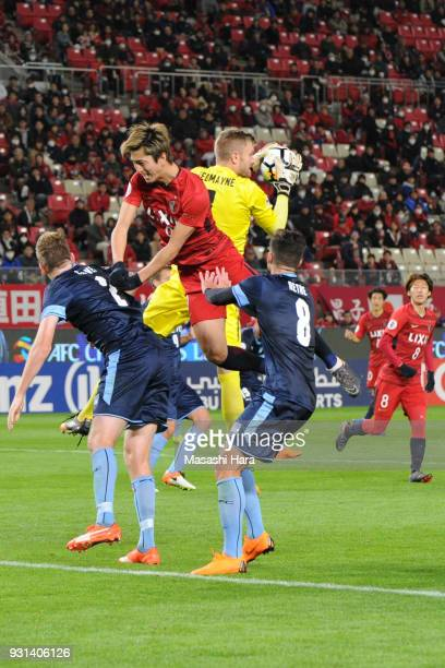 Andrew Redmayne of Sydney FC catches the ball during the AFC Champions League Group H match between Kashima Antlers and Sydney FC at Kashima Soccer...