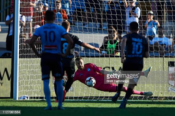 Andrew Redmayne of Sydney makes a save against a penalty kick during the round 17 ALeague match between Sydney FC and Melbourne City at WIN Jubilee...