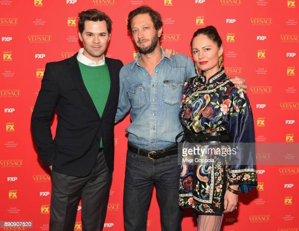 Andrew Rennells Ebon MossBachrach and director Yelena Yemchuk attend 'The Assassination Of Gianni Versace American Crime Story' New York Screening at...