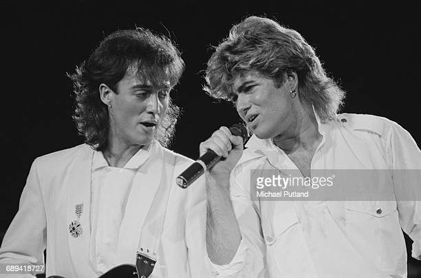 Andrew Ridgeley and George Michael of Wham performing during the pop duo's 1985 world tour January 1985 'The Big Tour' took in the UK Japan Australia...