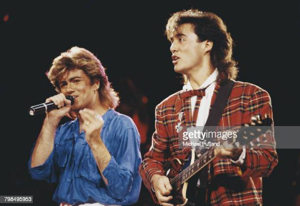 Andrew Ridgeley and George Michael of Wham performing together during the English pop duo's 1985 world tour January 1985 'The Big Tour' took in the...
