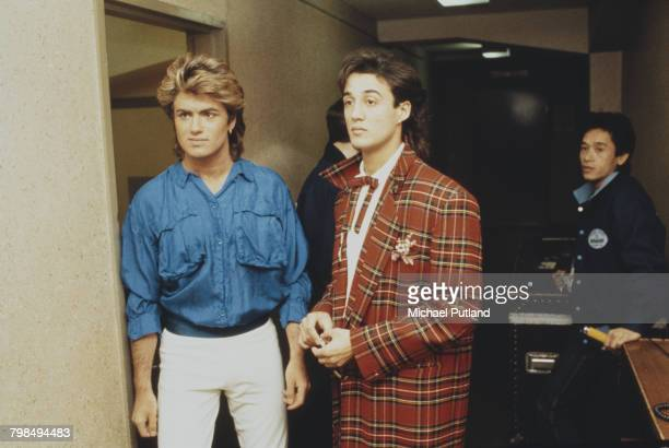 Andrew Ridgeley and George Michael of Wham pictured together backstage in Australia during the pop duo's 1985 world tour in January 1985 'The Big...