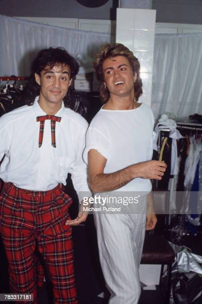 Andrew Ridgeley and George Michael of Wham posed backstage during the pop duo's 1985 world tour January 1985 'The Big Tour' took in the UK Japan...