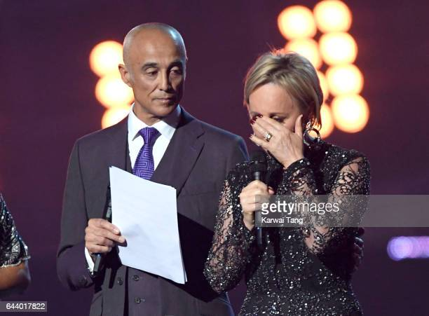 ONLY Andrew Ridgeley and Shirlie Holliman present a tribute to George Michael on stage at The BRIT Awards 2017 at The O2 Arena on February 22 2017 in...