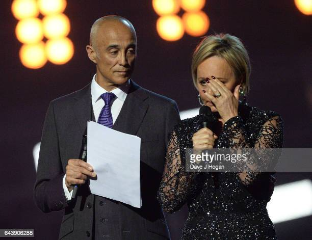 ONLY Andrew Ridgeley and Shirlie Holliman speak on stage at The BRIT Awards 2017 at The O2 Arena on February 22 2017 in London England