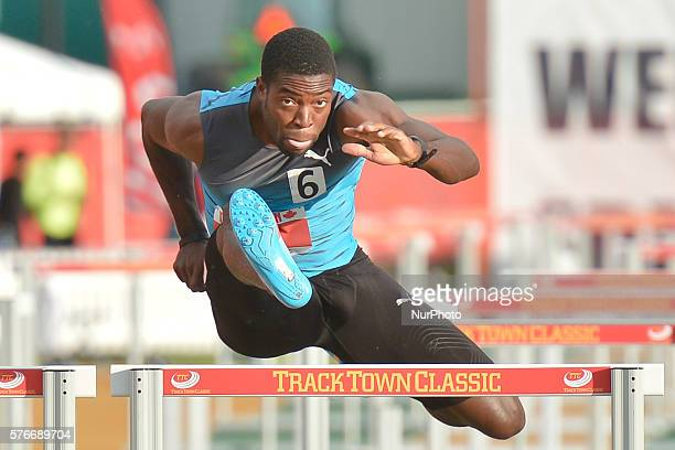 Andrew Riley from Jamaica, on his way to win Men 110 M Hurdles in 13.56, at Track Town Classic, at the University of Albertas Foote Field, in...