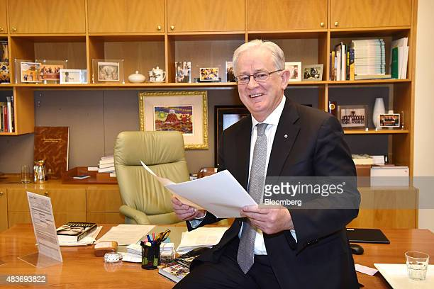 Andrew Robb Australia's trade and investment minister poses for a photograph in his office at Parliament House in Canberra Australia on Wednesday Aug...