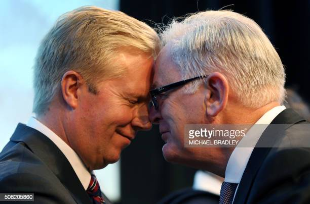 Andrew Robb the Minister for Trade and Investment from Australia is welcomed by New Zealand's Todd McClay the Minister of Trade with a Hongi as...