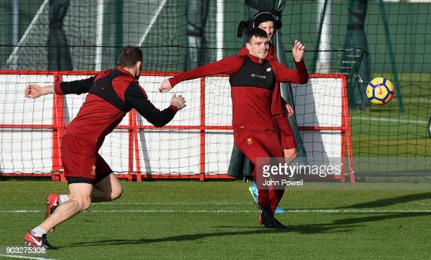 Andrew Robertson and James Milner of Liverpool during a training session at Melwood Training Ground on January 10 2018 in Liverpool England