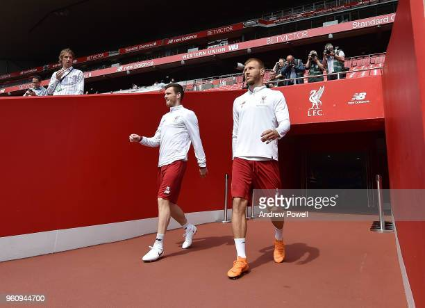 Andrew Robertson and Ragnar Klavan of Liverpool arrives before the Training session at Anfield on May 21 2018 in Liverpool England