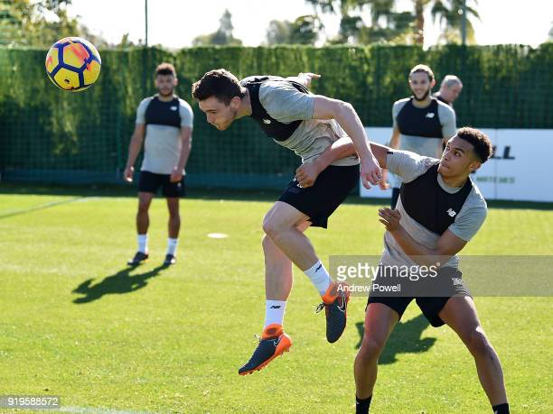 Andrew Robertson and Trent AlexanderArnold of Liverpool during a training session at Marbella Football Center on February 17 2018 in Marbella Spain