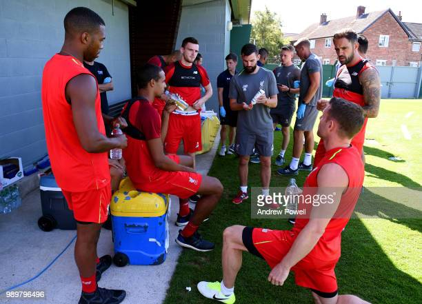 Andrew Robertson Daniel Sturridge Joel Matip Danny Ward and James Milner of Liverpool during their first day back for preseason training at Melwood...