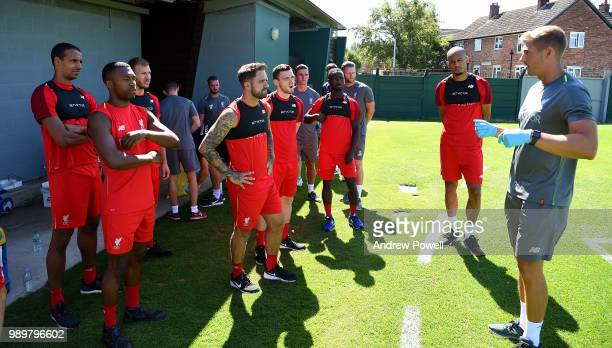 Andrew Robertson Daniel Sturridge Joel Matip Danny Ward Naby Keita and Fabinho of Liverpool during their first day back for preseason training at...