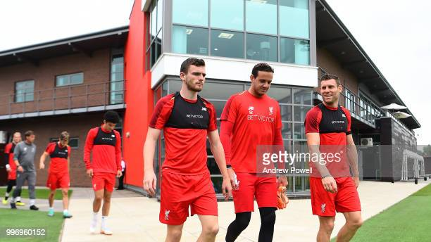 Andrew Robertson Danny Ward and James Milner of Liverpool during a training session at Melwood Training Ground on July 12 2018 in Liverpool England
