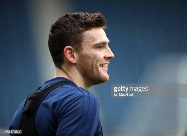 Andrew Robertson in action during a Scotland Training Session at Hampden Park on November 19 2018 in Glasgow Scotland