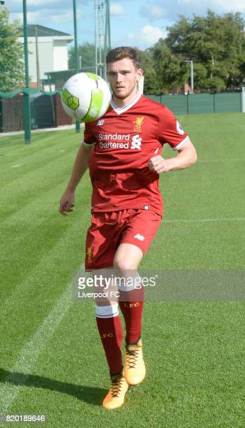 Andrew Robertson new signing for Liverpool at Melwood Training Ground on July 20 2017 in Liverpool England