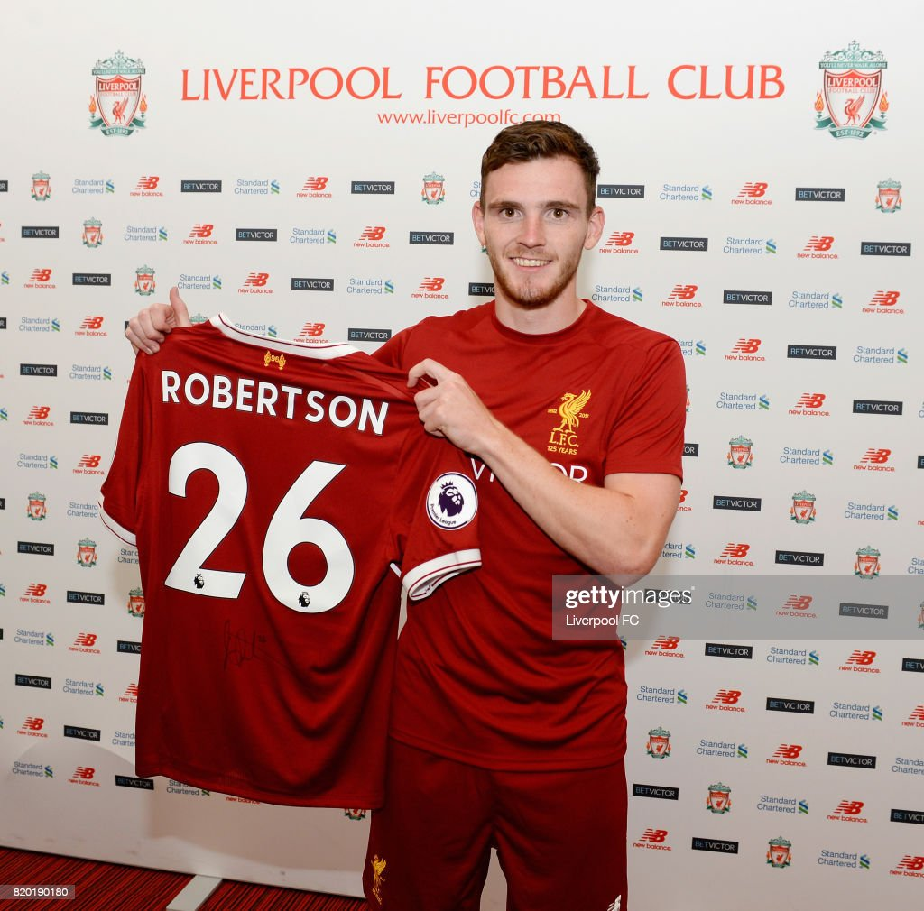 Liverpool Unveil New Signing Andrew Robertson : News Photo