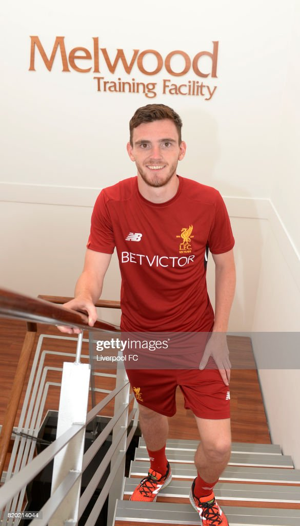 Andrew Robertson new signing for Liverpool at Melwood Training Ground on July 20, 2017 in Liverpool, England.