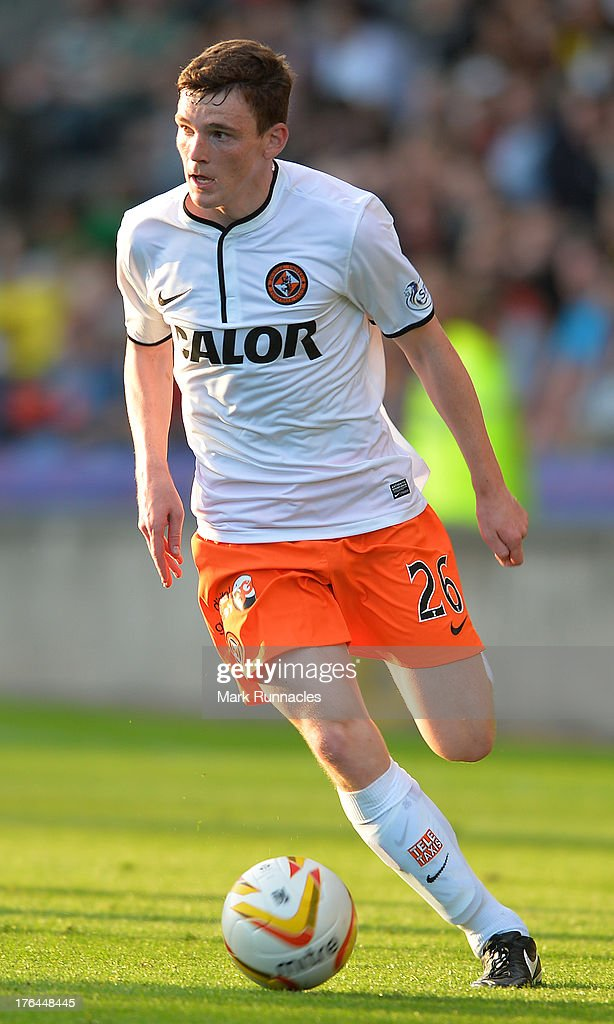 Andrew Robertson of Dundee United in action during the Scottish Premiership League match between Partick Thistle and Dundee United at Firhill Stadium on August 02, 2013 in Glasgow, Scotland.