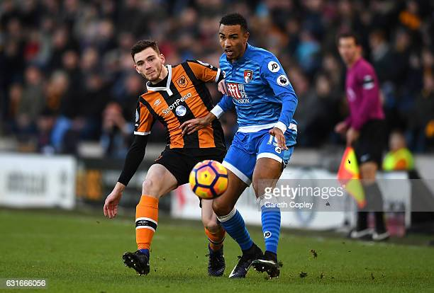 Andrew Robertson of Hull City and Junior Stanislas of AFC Bournemouth battle for possession during the Premier League match between Hull City and AFC...