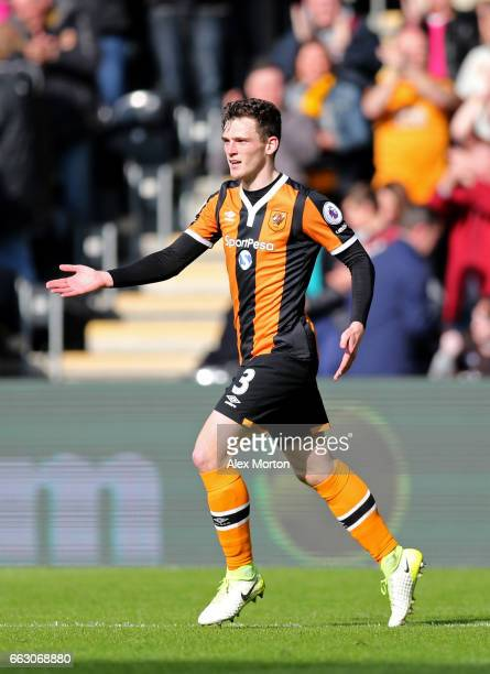 Andrew Robertson of Hull City celebrates scoring his sides first goal during the Premier League match between Hull City and West Ham United at KCOM...