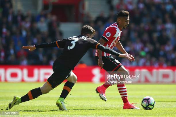 Andrew Robertson of Hull City closes down Sofiane Boufal of Southampton during the Premier League match between Southampton and Hull City at St...